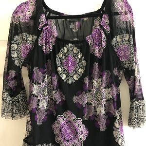 Purple multi colored blouse